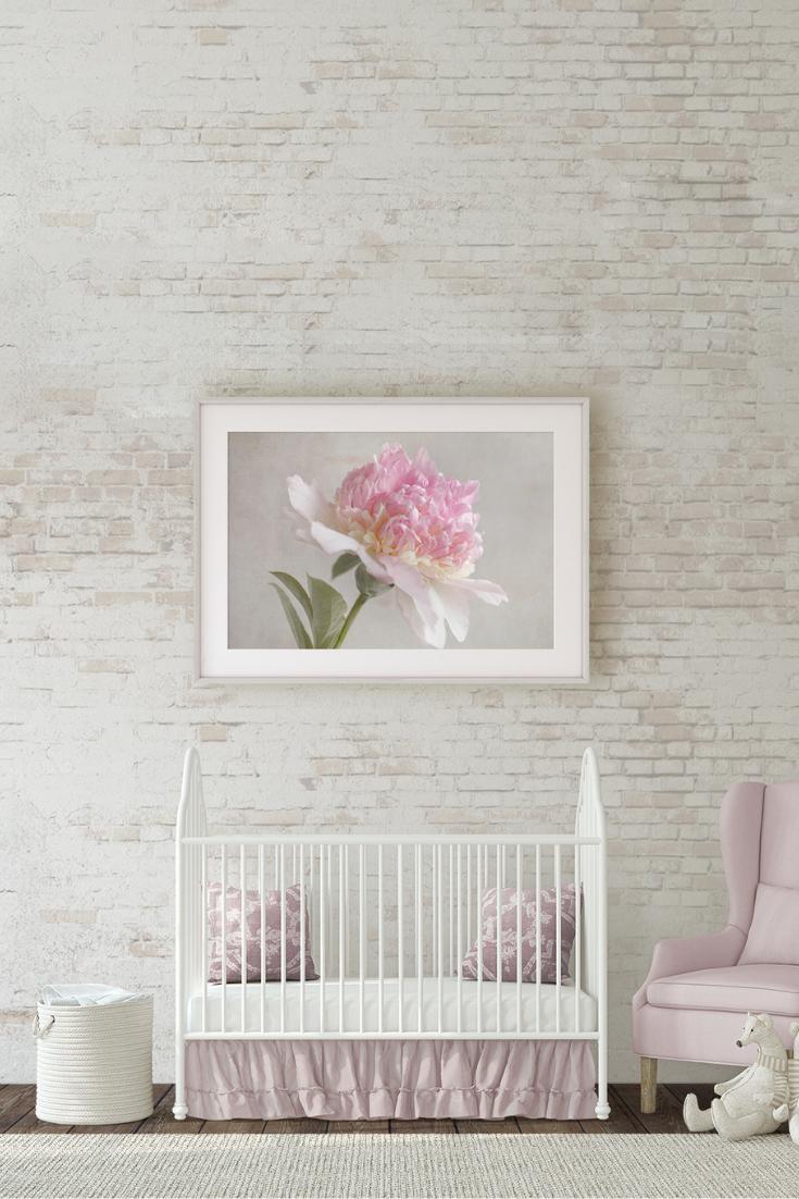 Pink Peony Rustic Floral Print Peonies Art Print Pink Peonies Art Large Wall Prints #nursery #in #living #room