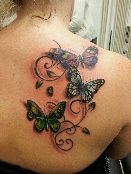 Mariposas Gotas De Agua Y Firuletes Bloem Vlinder Tattoo