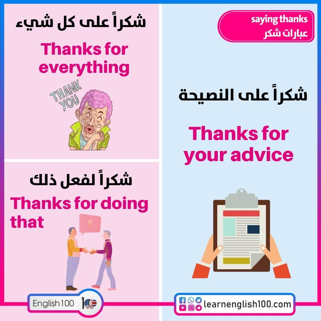 عبارات شكر بالانجليزي English 100 Thanks For Your Advice Thanks For Everything Thankful