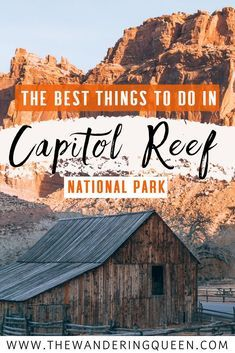 Click HERE to find out all about things to do in Capitol Reef National Park Utah USA. This includes photography hiking camping information scenic drives petroglyphs arches sunset point panorama point the Gifford House Hickman Bridge Cassidy Ar #utahusa