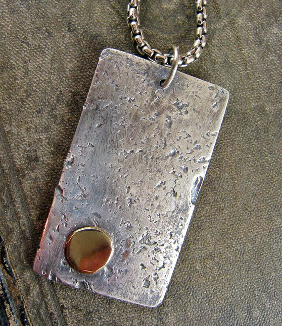 Men's Dog Tag Necklace Solid Gold & Sterling Silver by