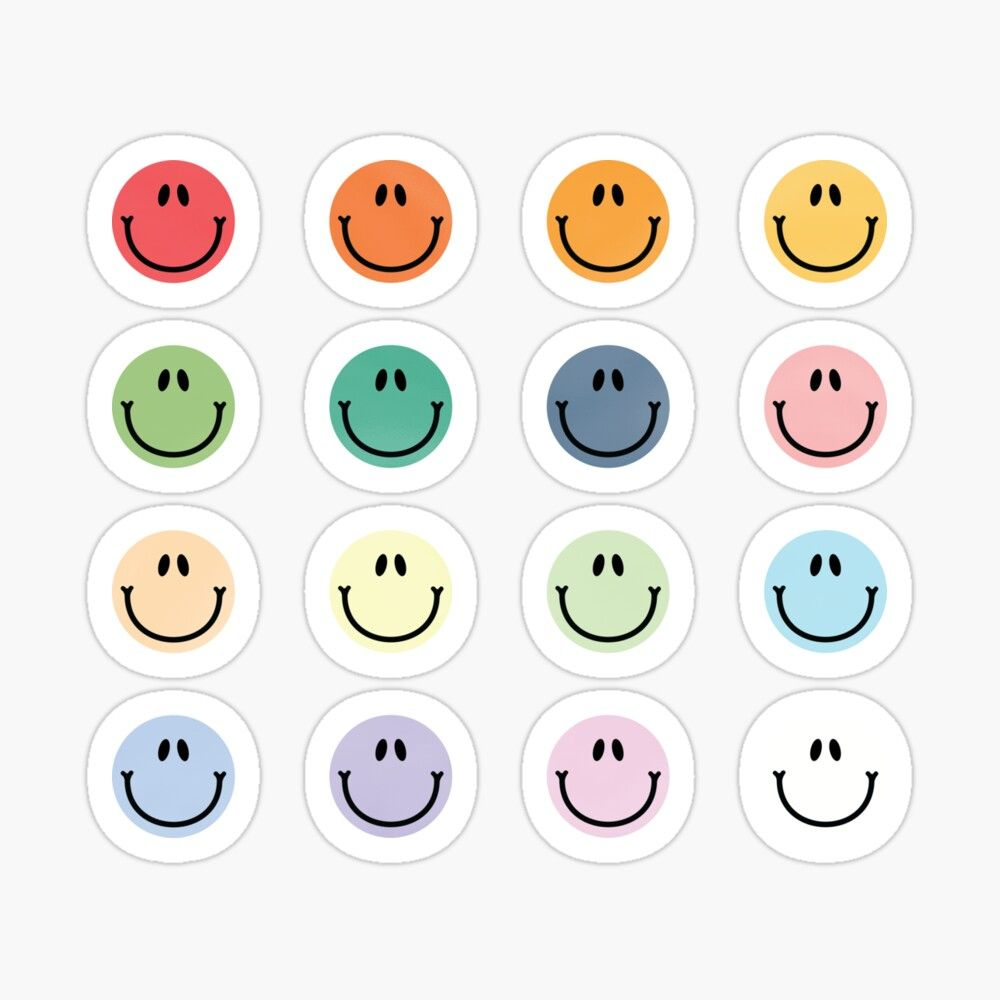 A Pack Of Smileys Colorful Faces Funny Emoji Sticker By Sweetlog In 2020 Preppy Stickers Emoji Stickers Print Stickers