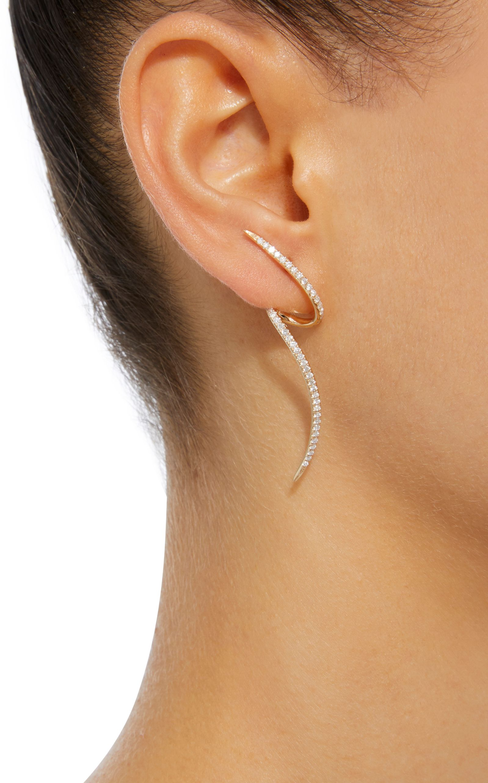 earrings tash non view gold jewelry maria fullscreen in lyst spike rotating single white earring metallic