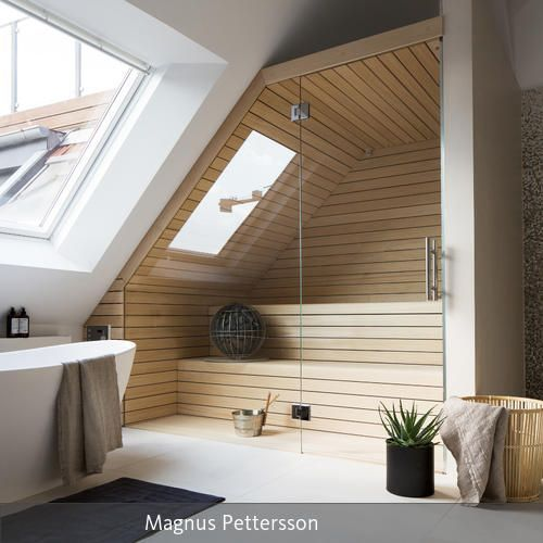 sauna im badezimmer bath pinterest dachgeschosse badezimmer und wohnen. Black Bedroom Furniture Sets. Home Design Ideas