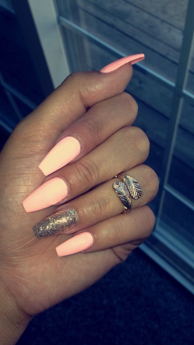 Cotton Candy Pink Coffin Acrylic Nails Pinknails Coffinnails Cottoncandy