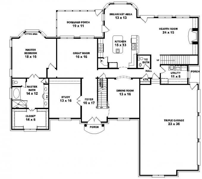 653616 2 Story French Style Floor Plan With 5 Bedrooms House