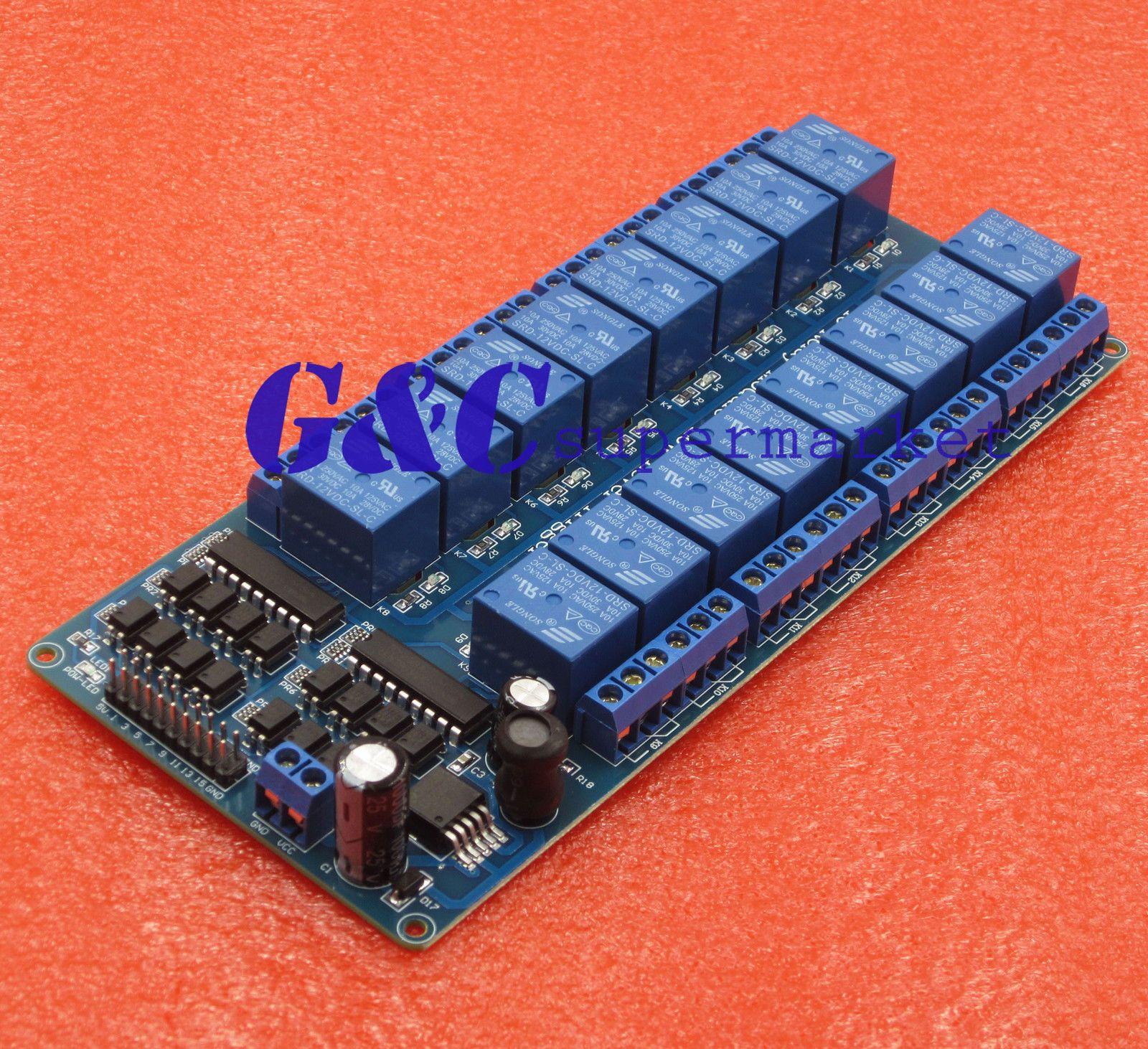 $12 58 - 16-Channel 12V Relay Shield Module Wiht Optocoupler