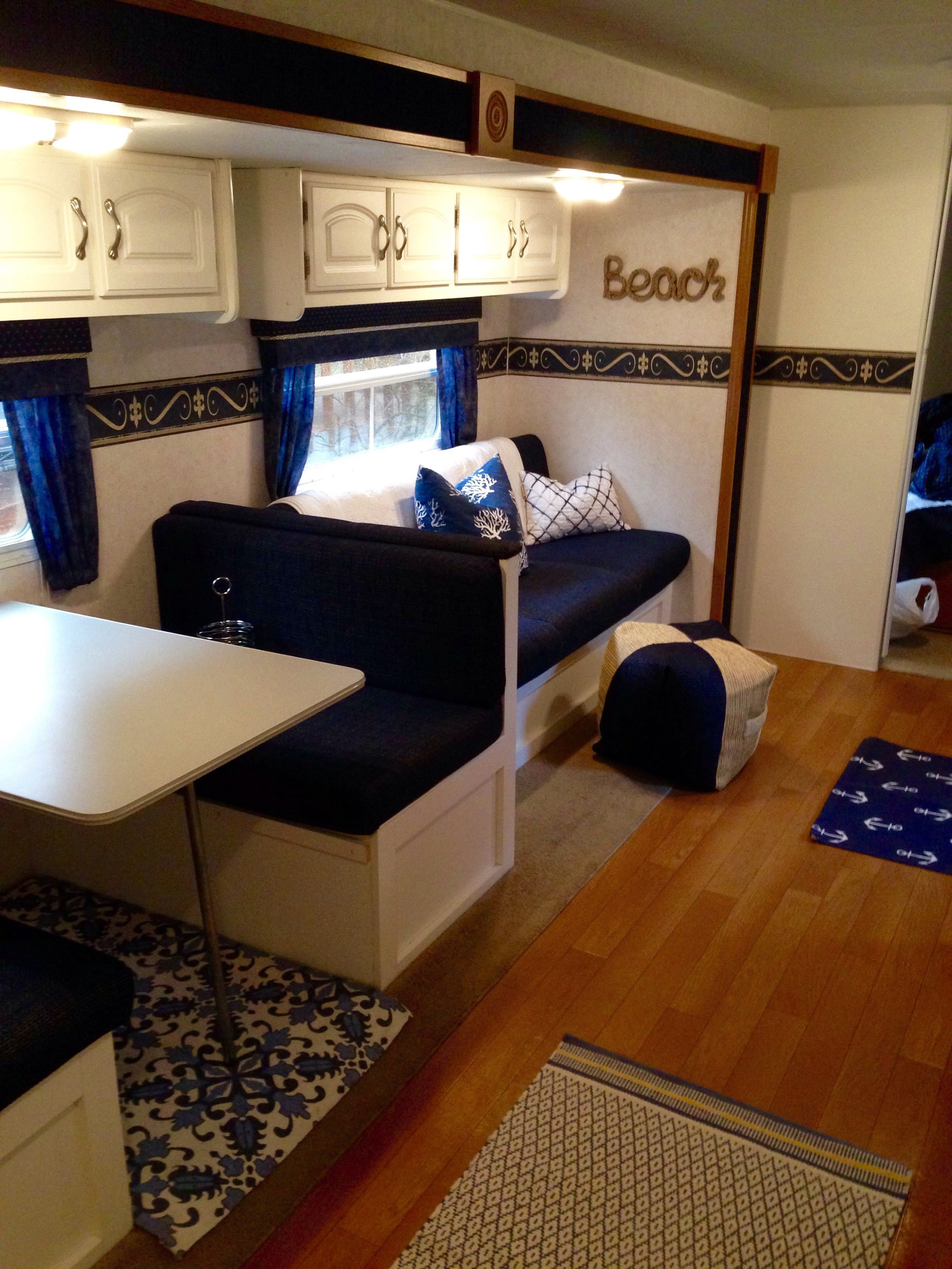 Navy And White Camper Nautical Beach Camper Renovation