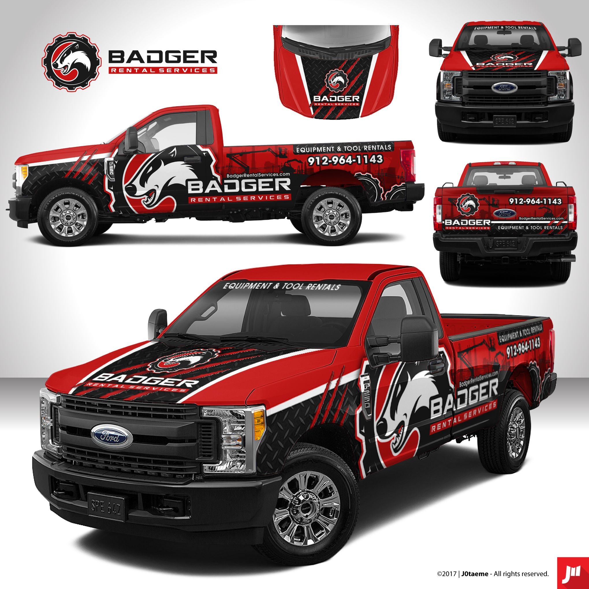 Badger Rental Services Ford F250 Truck Wrap By J0taeme Truck Design Van Wrap Trucks