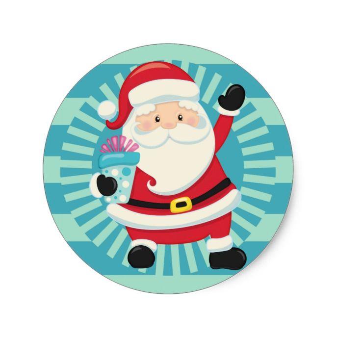 Santa Claus Vintage Santa Blue Aqua Christmas Classic Round Sticker Zazzle Com In 2020 Aqua Christmas Vintage Santas Classic Christmas
