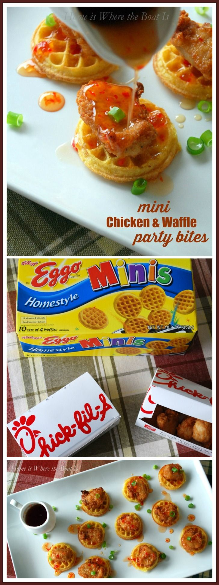 Mini Chicken and Waffles Party Bites #fingerfoodappetizers
