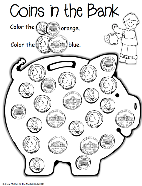 Coins in the Bank; identify different coins by coloring
