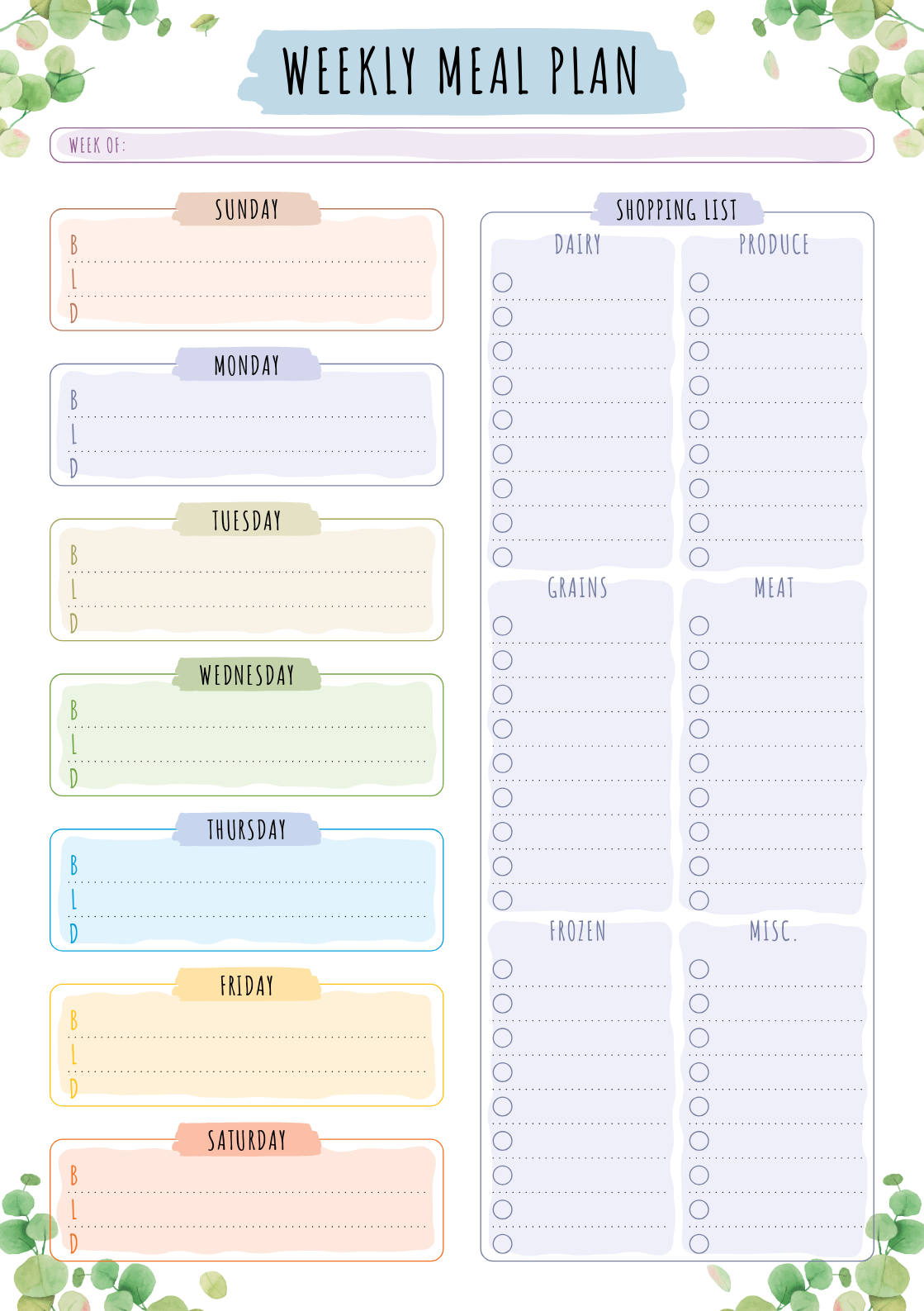 Printable Weekly Meal Plan With Shopping List Floral Style Pdf D Meal Planning Printable Templates Meal Planning Printable Weekly Meal Planner Printable Free