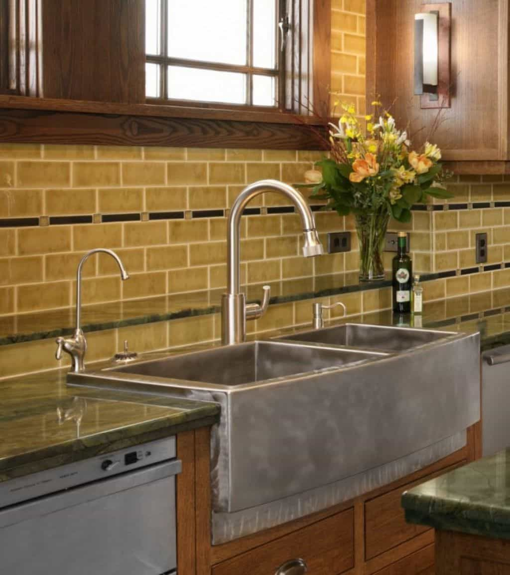 Kitchen Ceramic Tile Backsplash Can Be A Good Choice Kitchen Sink Decor Farmhouse Sink Kitchen Stainless Farmhouse Sink
