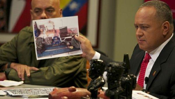 El presidente de la Asamblea Nacional Diosdado Cabello, presento en febrero las pruebas del plan golpista. | Foto: Archivo