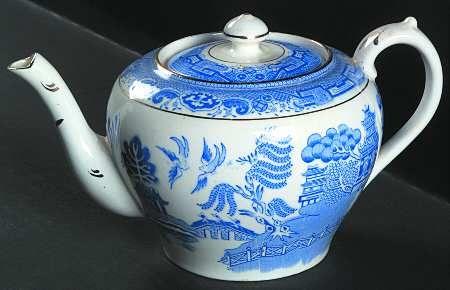china pattern-Blue Willow-on a bone china teapot.