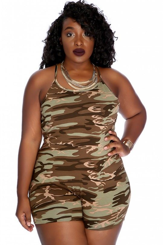 7b3aee86cd0 Sexy Camouflage Sleeveless Casual Plus Size Romper in 2019 | Fashion ...