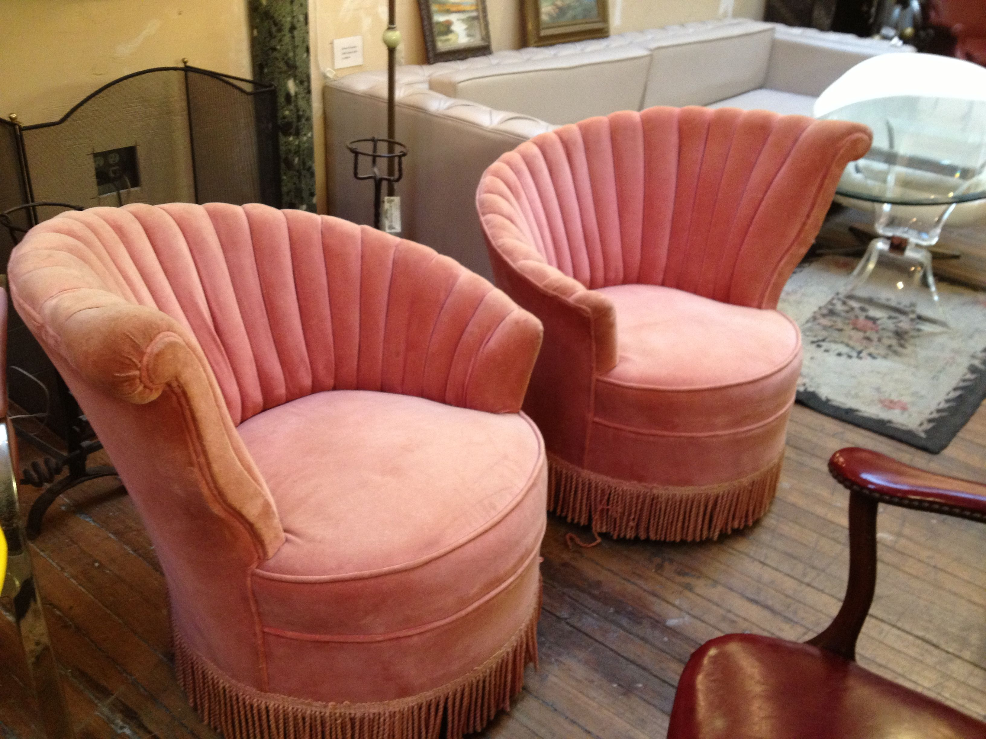 Art Deco coral scalloped side chairs in crushed velvet vintage