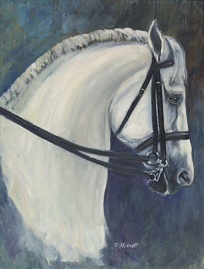 Lisa McKnett - White Dressage Horse- Oil - Painting entry - August 2010 | BoldBrush Painting Competition