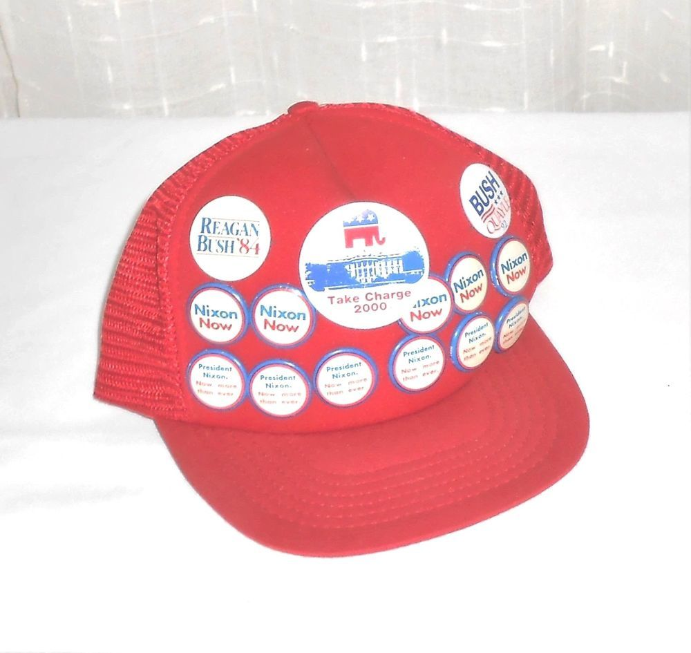 Rare Nixon Pins: Vintage Nixon Reagon Bush Poltical Pins Red Mesh Snap Back