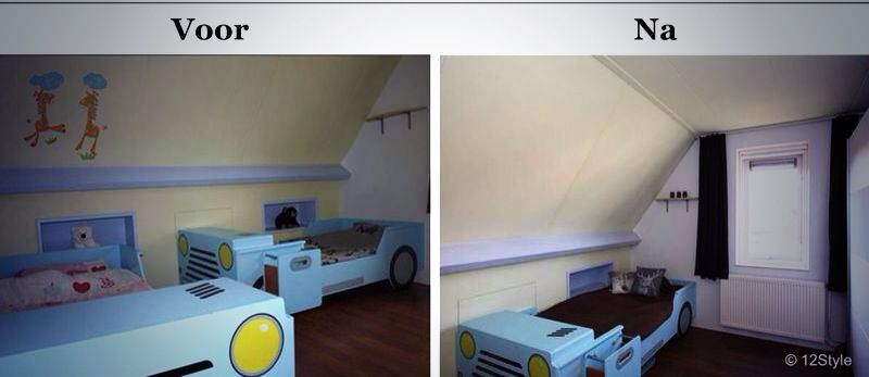 Rommelige kinderkamer omgetoverd tot een keurige slaapkamer