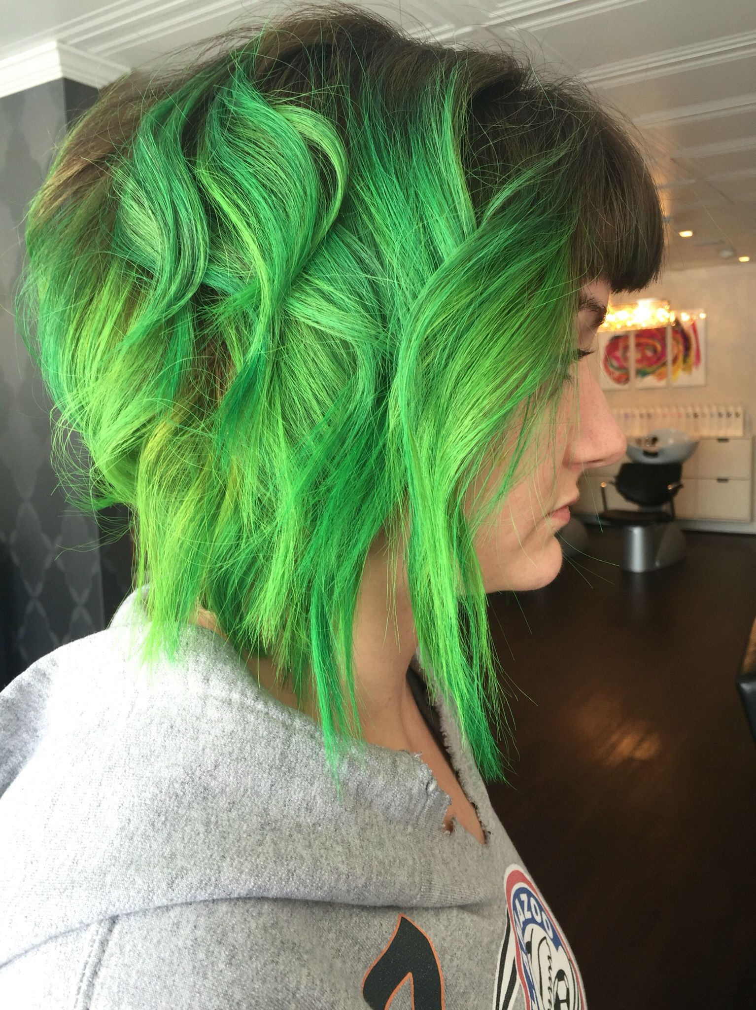 Electric Green Ombre With Dark Roots Light Green Dark Green Ombre Maven Green Hair Hair Beauty Long Hair Styles