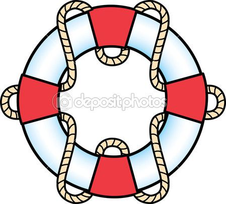 Red And White Life Preserver Ring With A Rope Stock Vector