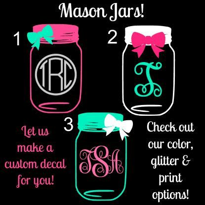 Mason Jar Monogram Custom Car Window Decal Vinyl Decal Vinyls - Monogrammed custom vinyl decals for car