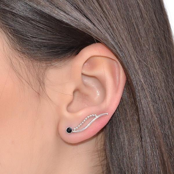 3MM ONYX CLIMBER EARRING #onyx #onyx_earring #Gothic_jewellery #iroocca