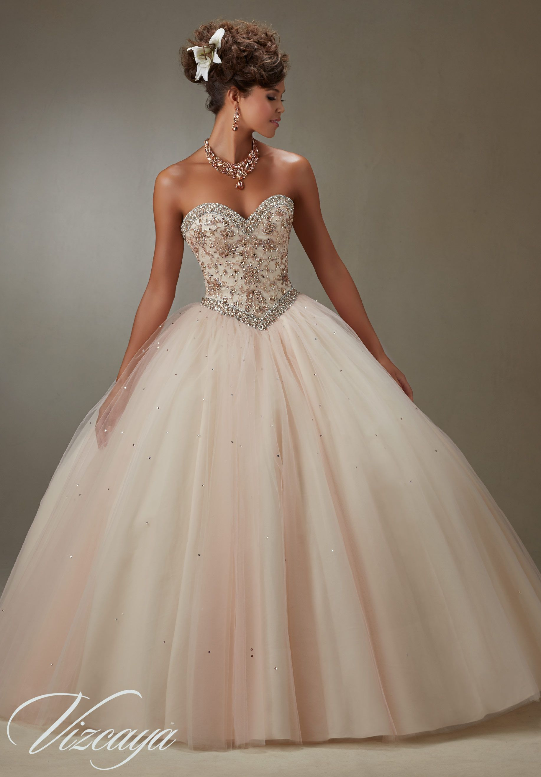 73185d948ca Quinceanera Dress 89073 Layered Tulle Ball Gown with Embroidery and Jeweled  Beading