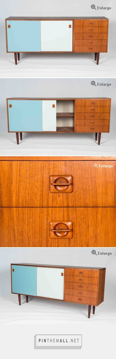 $1900 can do for $1500 - for kitchen Original Danish Vintage sideboard - teak - bobutik Lacquered sliding doors - 5 drawers on right hand side. Dimensions: L.180cm D.40cm H.80cm Item code: ST270 - created via http://pinthemall.net