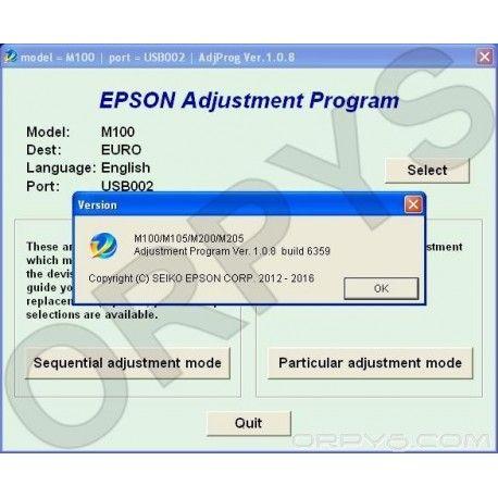 Epson M100 M105 M200 M205 Adjustment Program Reset Map iOS