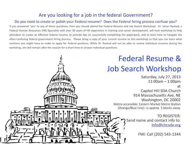 CHCAKD2013 - Federal Resume  Job Search Workshop Find Your