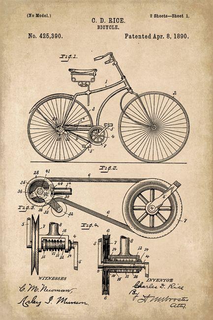 Antique 25 Official Schwinn Bicycle US Patent Art Print Vintage Original Bike
