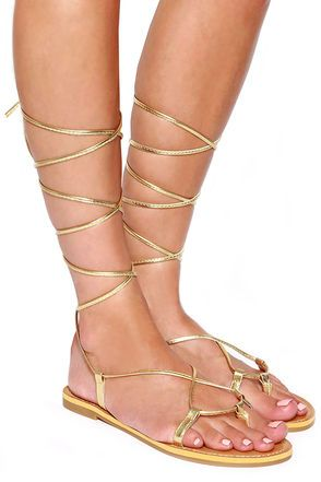 2ef8f22d1 Cute Gold Sandals - Leg Wrap Sandals -  15.00