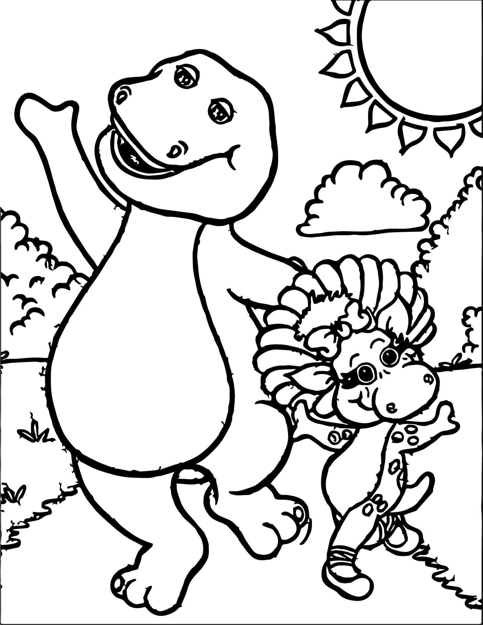Awesome Barney And Baby Bop Have Fun Together Coloring Page Printable Coloring Pages Cartoon Coloring Pages Coloring Pages