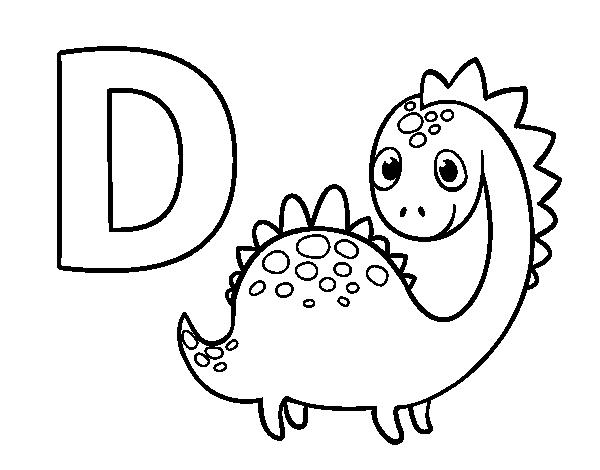 Dibujo Del Abecedario - Letra D Para Colorear