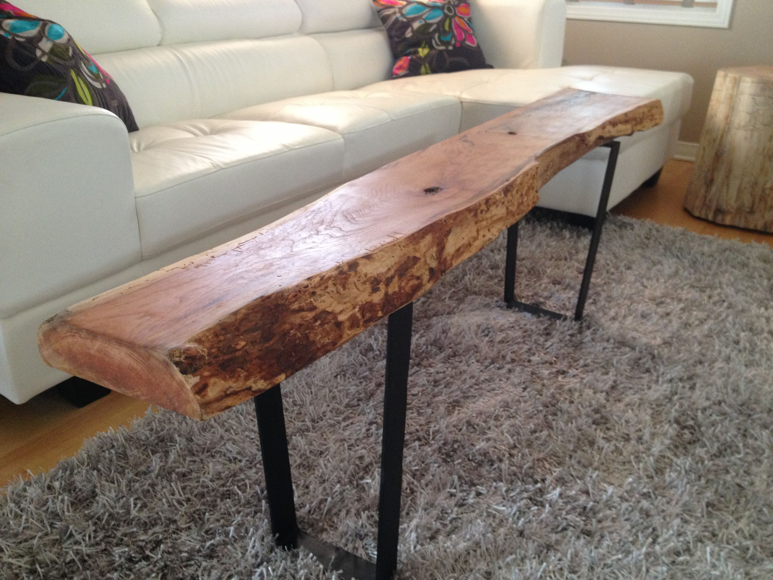 Live Edge Table With Hairpin Legs, Live Edge Coffee Table With Metal Legs,  Rustic