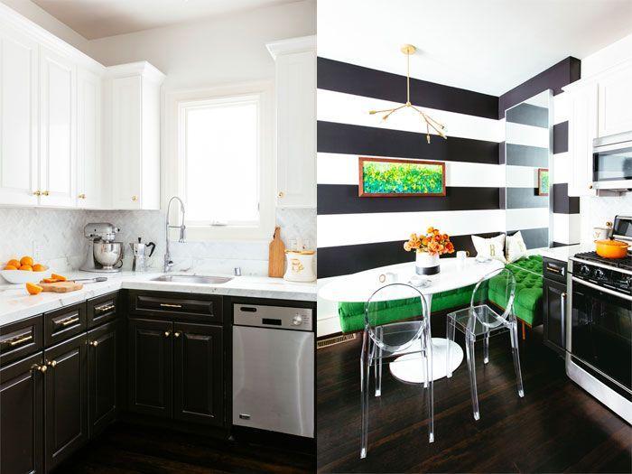 Una cocina muy chic decorada en blanco, negro y verde · A very chic ...