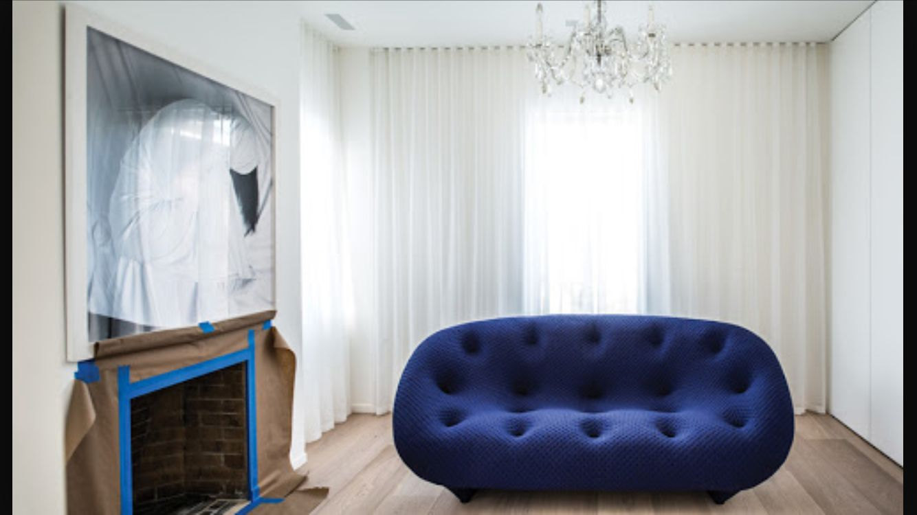 Ploum sofa stitch colour royal by ligne roset for Salon ligne roset
