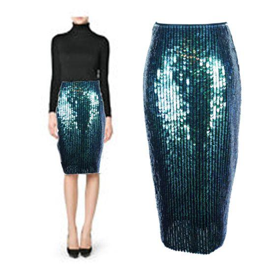 86cb691da2 NWT H&M Mermaid Fish Scale Overlapping Sequin Designer Pencil Skirt LTD ED  US 4 #HM #Pencil