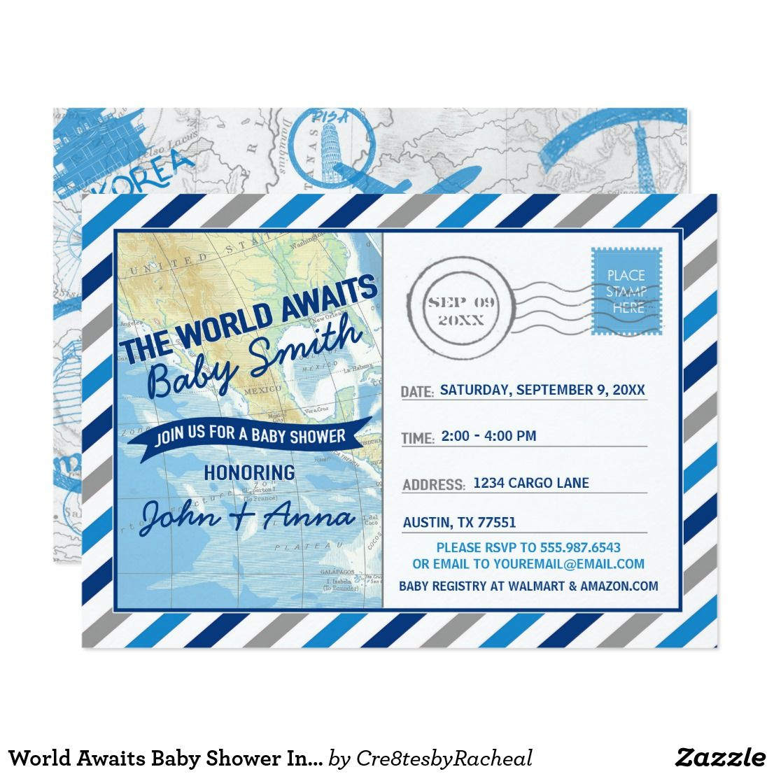 World Awaits Baby Shower Invitation Blue Postcard A grand invitation ...