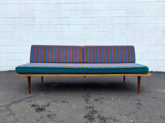 mid century danish modern 1960s wood frame daybed sofa george nelson alexander girard style - Wood Frame Daybed