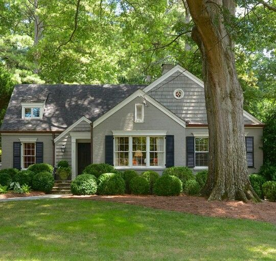 Cottage Home : Painted Brick : Shutters : Boxwood