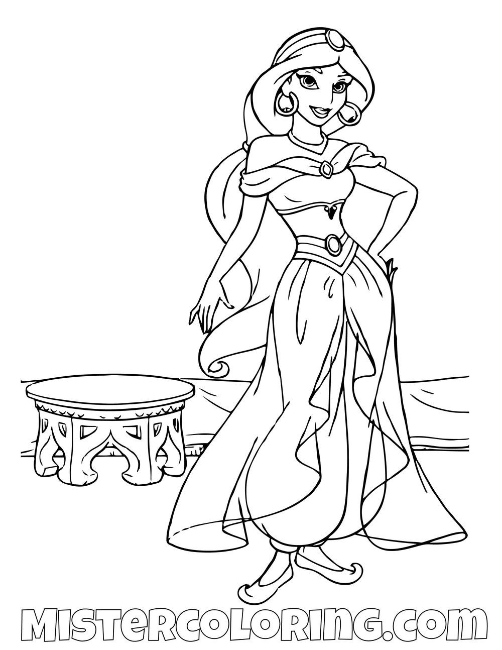 Princess Jasmine Posing Aladdin Coloring Page Disney Princess Coloring Pages Disney Coloring Pages Princess Coloring Pages
