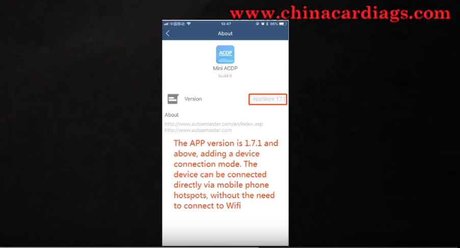 Yanhua Mini ACDP connect to mobile phone hotspot directly No