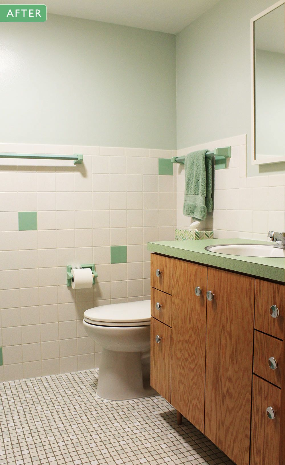 Kate S 1960s Green Bathroom Remodel Lite Before And After