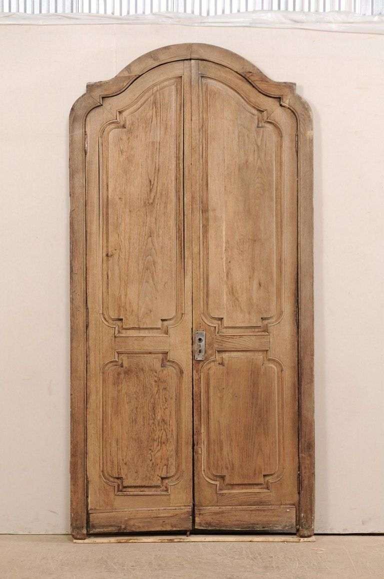 Exquisite Pair Of Arched 19th Century Spanish Carved Wood Doors With on