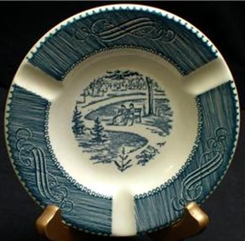 currier and ives dishes | china ashtray by Royal China in the beloved blue Currier & Ives ...
