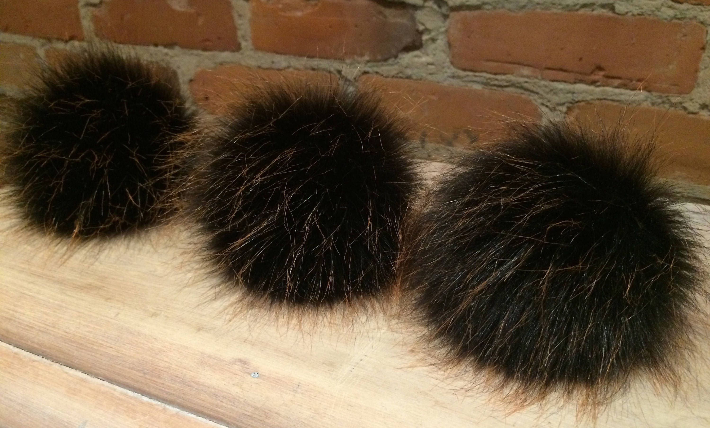 3f0065acbab829 Faux Fur Pom, 5 Inch, Fake Fur Pom, Wispy Black Fox, Gold Brown Flecks, Fur  Ball, Knit Hat Pom, Winter Hat, Beanie Hat, Removable Pom Pom by  ElleVintage369 ...